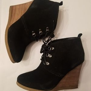 Express Black Suede Wedge Bootie